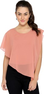 Chimpaaanzee Party Butterfly Sleeve Solid Women's Pink Top