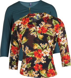 Vvoguish Casual 3/4th Sleeve Floral Print Women's Multicolor Top