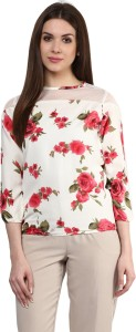 Mayra Casual 3/4th Sleeve Printed Women's White Top
