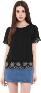 Calgari Casual Short Sleeve Solid Women's Black Top