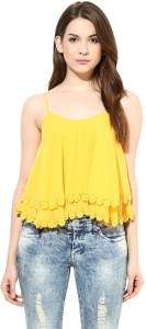 Harpa Party Sleeveless Solid Women's Yellow Top