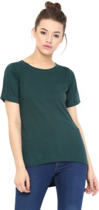 Miss Chase Casual Short Sleeve Solid Women's Green Top