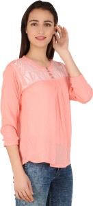 BuyNewTrend Casual 3/4th Sleeve Embroidered Women's Orange Top