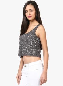 Grain Casual Sleeveless Embellished Women's Grey Top