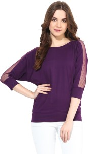 Miss Chase Casual 3/4th Sleeve Solid Women's Purple Top