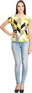 Color Fuel Party Cap Sleeve Geometric Print Women's Yellow Top