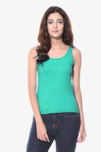 Miss Chase Casual Sleeveless Solid Women's Green Top