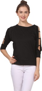 Fashion Expo Casual 3/4th Sleeve Solid Women's Black Top