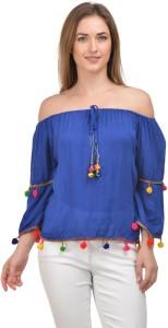 Raabta Fashion Casual 3/4th Sleeve Solid Women's Blue Top