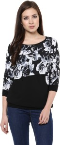 AR2 Party 3/4th Sleeve Printed Women's Black Top