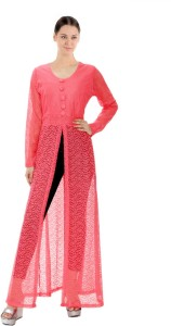 M&F Party Full Sleeve Self Design Women's Pink Top