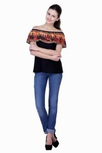La Verve Casual Cap Sleeve Printed Women's Multicolor Top