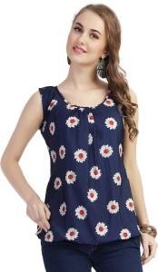 Ziyaa Casual Sleeveless Floral Print Women's Multicolor Top