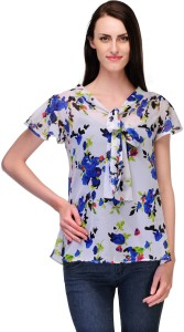 Just Wow Casual Short Sleeve Floral Print Women's White, Purple Top