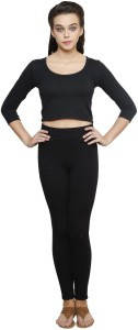 Finesse Casual 3/4th Sleeve Solid Women's Black Top