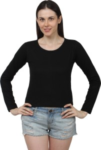 American Life Casual Full Sleeve Solid Women's Black Top