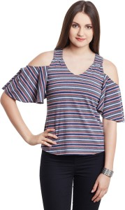 Hypernation Casual Butterfly Sleeve Striped Women's Grey, Multicolor Top