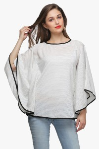 Cation Casual Full Sleeve Printed Women's White Top