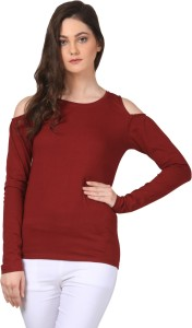 Fashion Expo Casual Full Sleeve Solid Women's Maroon Top