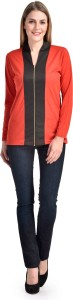 Crease   Clips Casual Full Sleeve Solid Women Red, Black Top