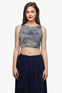Cation Casual Sleeveless Printed Women's Dark Blue, Gold Top