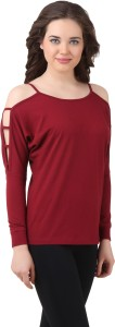 Texco Casual Full Sleeve Solid Women's Maroon Top