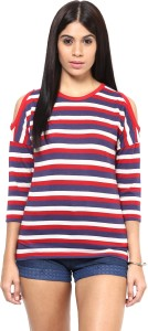 Hypernation Casual 3/4th Sleeve Striped Women's Red, Blue, White Top