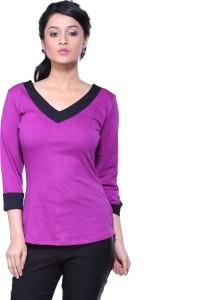 Veakupia Casual 3/4th Sleeve Solid Women's Purple Top