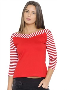 Veakupia Casual 3/4th Sleeve Solid, Striped Women's Red, White Top