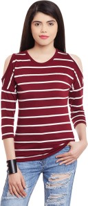 Hypernation Casual 3/4th Sleeve Striped Women's Maroon, White Top