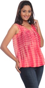 Park Avenue Casual Sleeveless Striped Women's Red Top