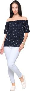 Ahalyaa Casual Short Sleeve Printed Women's Blue Top