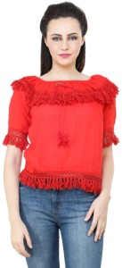 BuyNewTrend Casual Short Sleeve Solid Women's Red Top