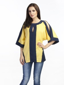 Schwof Casual Short Sleeve Solid Women's Yellow Top