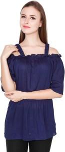 TeeMoods Casual Shoulder Strap Solid Women's Dark Blue Top