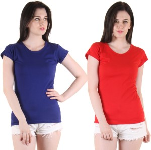 Diaz Casual Short Sleeve Solid Women's Blue, Red Top