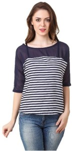 Fairy Casual 3/4th Sleeve Striped Women's Multicolor Top