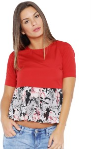 Veakupia Casual Short Sleeve Solid, Floral Print Women's Red, Grey Top