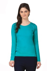 Fashion Expo Casual Full Sleeve Solid Women's Green Top