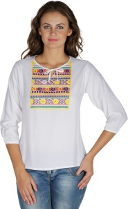 Mayra Party 3/4th Sleeve Solid Women's White Top
