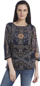 Only Casual 3/4th Sleeve Printed Women's Black Top