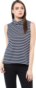 Miss Chase Casual Sleeveless Striped Women's Multicolor Top