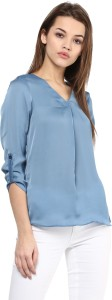 Avoir Envie Casual 3/4th Sleeve Solid Women's Blue Top