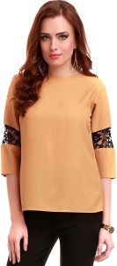 Sassafras Casual 3/4th Sleeve Solid Women's Brown Top