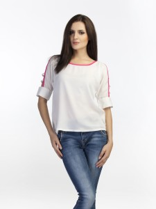 Schwof Casual Roll-up Sleeve Solid Women's White Top