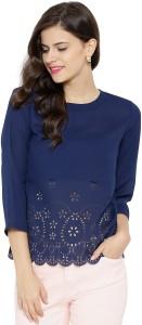 Sassafras Casual 3/4th Sleeve Solid Women's Dark Blue Top