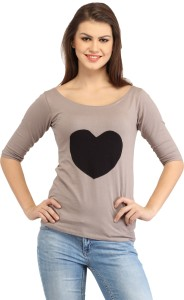 Cation Casual 3/4th Sleeve Solid Women's Beige, Black Top