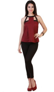 Belle Fille Casual Sleeveless Solid Women's Black, Maroon Top