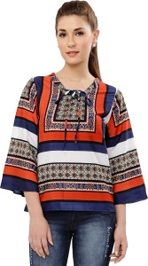 Victorian Clothing Casual Bell Sleeve Geometric Print Women's Multicolor Top
