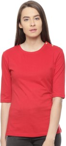 Vvoguish Casual 3/4th Sleeve Solid Women's Red Top